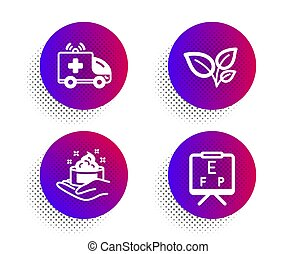 Leaves, Ambulance car and Skin care icons set. Vision board sign. Grow plant, Emergency transport, Hand cream. Vector