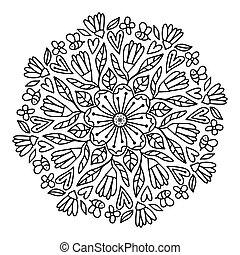 Leaves and flowers black and white isolated. Line art on transparent background. Hand-drawn circle with natural objects ornament. Freehand drawing mandala illustration