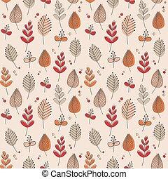 Leaves and flowers retro autumn tones