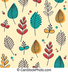 Seamless pattern of flowers and leaves in flat style and retro colours. EPS10 vector format.