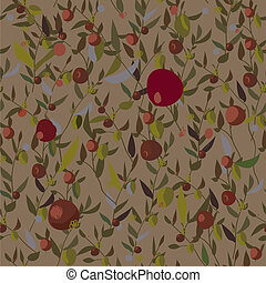 Leaves and fruits seamless pattern retro design