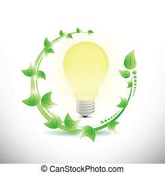 leaves and light bulb illustration design over a white background