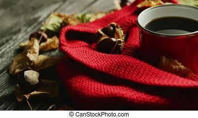 Leaves and nuts near scarf and hot beverage - Closeup shot...