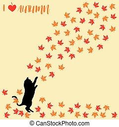 leaves., autumnal., silhouettes., gato, caer, otoño, gatos, ...