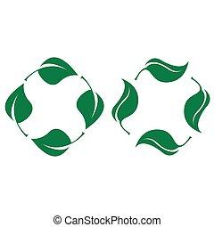 leaves., bio, ensemble, vert, recyclable, plastique, icône, vecteur