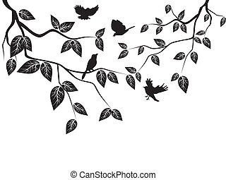 leaves, birds