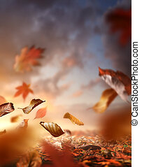 Leaves Blowing In The Wind On A Autumn Evening