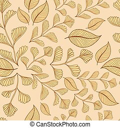 Leaves branches seamless pattern background. Vector illustration.