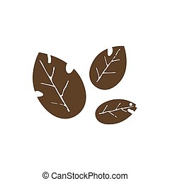 Leaves brown vector illustration on white background