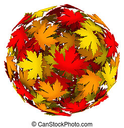 Leaves Changing Color Autumn Fall Leaf Ball - A ball or...