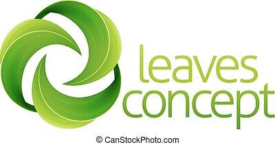Leaves Circle Concept - Conceptual icon of circular green...