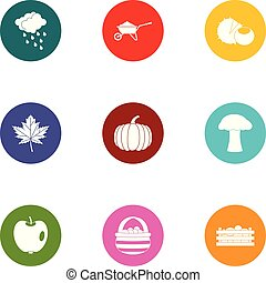 Leaves cleaning icons set, flat style