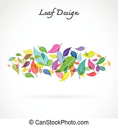 leaves design on white background - Vector Illustration
