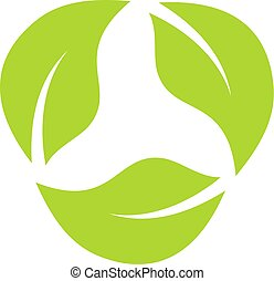 Leaves eco recycle icon
