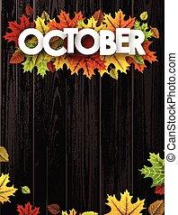 leaves., fond, octobre, coloré