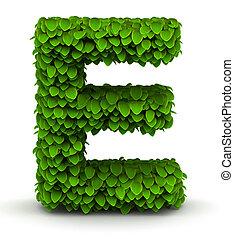 Leaves alphabet font letter E on white background