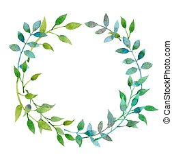 leaves - Hand-drawn watercolor floral frame made in vector