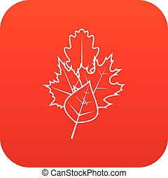 Leaves icon digital red for any design isolated on white...