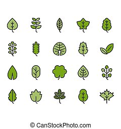 Leaves icon set. Vector illustration
