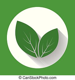 Leaves icons. Leaf icon with long shadow. Flat design. Vector illustration.