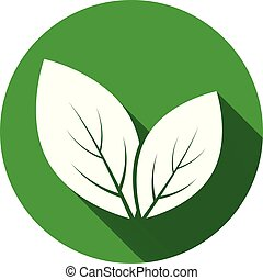 Leaves icons. Leaf icon with long shadow on green background. Flat design. Vector illustration.