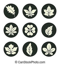 Leaves icons set