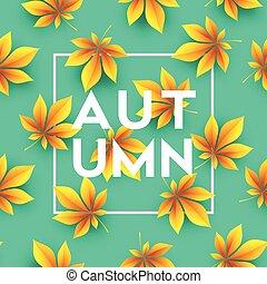 leaves., illustration, automne, vecteur, fond, automne