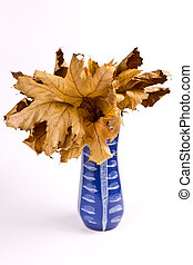 leaves in a vase