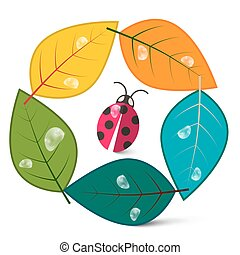 Leaves in Circle with Ladybug Insect. Nature Symbol Cartoon. Eco Icon. Logo Nature Design.