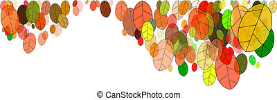 leaves in fall - colorful fall leaves illustration on white...