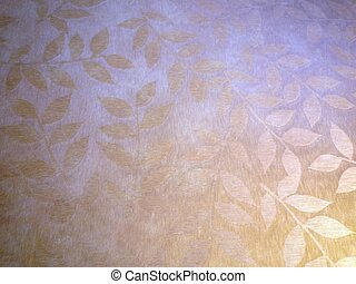leaves in repeated design on a golden background