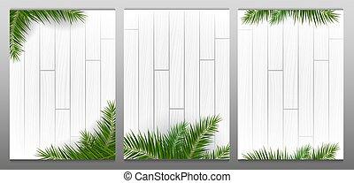 leaves., legno, sfondi, palma, bianco, esotico, set