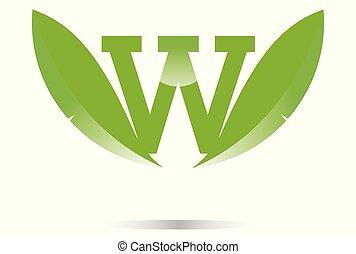 leaves letter w logo