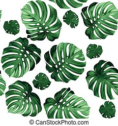 leaves monstera - Seamless pattern of leaves monstera