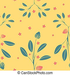 Leaves Nature Collection Illustration Seamless Pattern Background 03