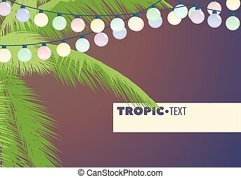 Leaves of palm trees decorated with garland