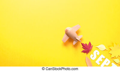 Leaves of paper fall red, orange, yellow leaf fall. Stop...