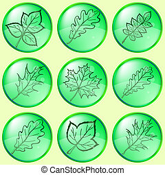 Leaves of plants, buttons, set 1
