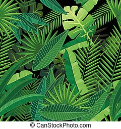Leaves of tropical palm tree. Seamless pattern on black background