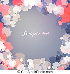 Leaves on blue background with space for text