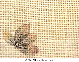 Leaves on canvas texture