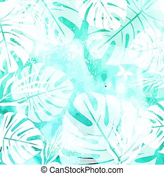 Leaves on Green Watercolor Background