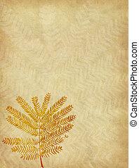 Leaves on Old antique vintage paper background
