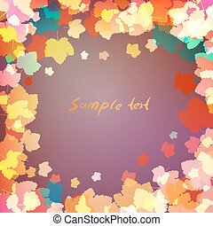 Leaves on purple background with space for text