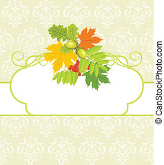 Leaves on the decorative background