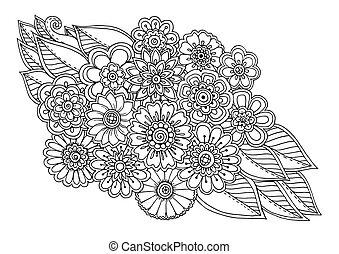 leaves., ornamento, fondo., garabato, floral, negro, mano, dibujado, blanco, verano, arte, mandala., flor
