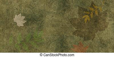 leaves., ou, aquarelle, arrière-plan vert, frontière florale, lierre, érable