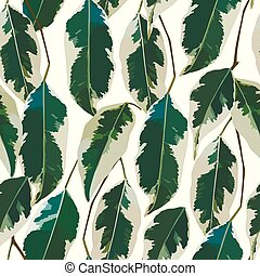 Leaves pattern seamless white background