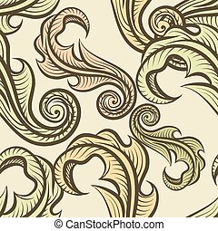 Leaves pattern - Seamless pattern with leaves drawn in...
