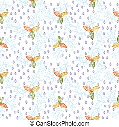 Leaves plant flower seamless pattern background. Vector